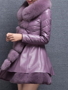 Ericdress Winter Fur Collar PU Patchwork Coat