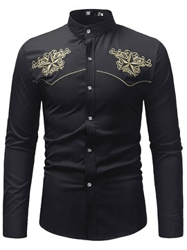Ericdress Floral Embroidery Stand Collar Mens Casual Dress Shirts