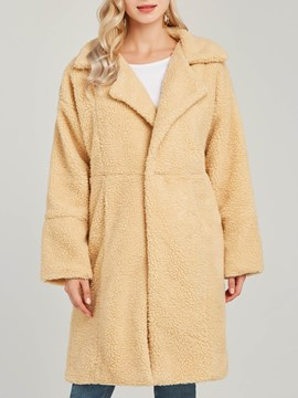 Ericdress Loose Lapel Long Plain Long Sleeve Coat