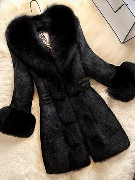 Ericdress Patchwork Faux Fur Mid-Length Tunic Long Sleeves Coat