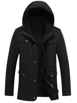 Ericdress Plain Removable Hooded Zipper Mens Winter Jacket