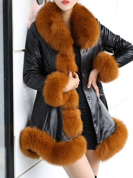 Ericdress Thick Mid-Length Fur Collar Coat