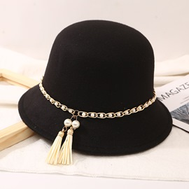 Ericdress Pearl Chain Tassels Women Fashion Hats