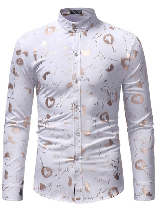 Ericdress Printed Stand Collar Slim Mens Casual Dress Shirts