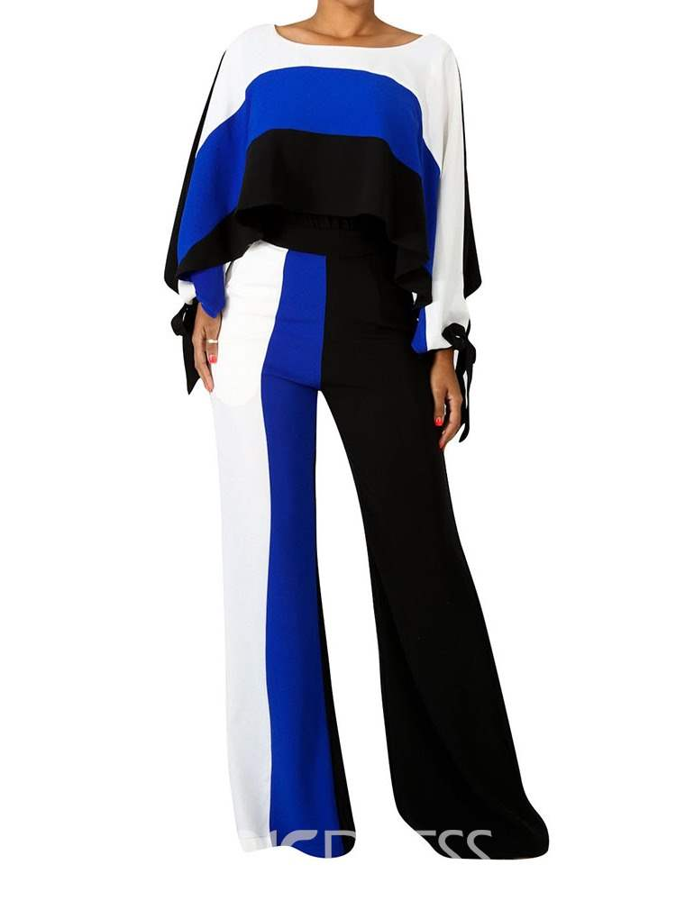 Ericdress Color Block Long-Sleeved T-Shirt and Pants Women's Two Piece Set