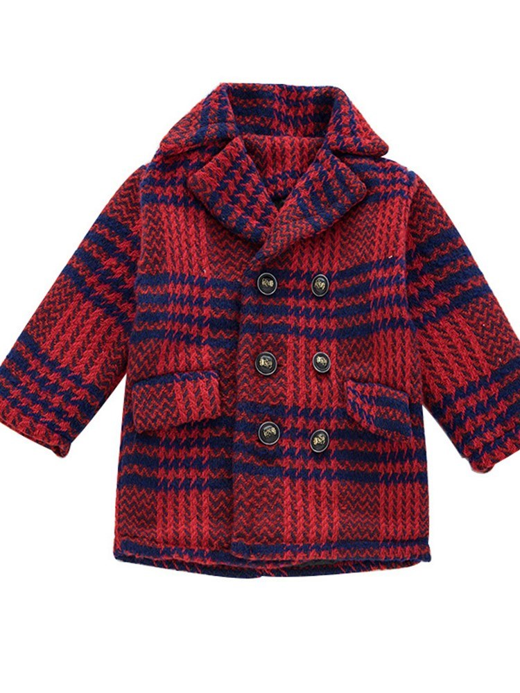 Ericdress Notched Lapel Plaid Boys Outerwears