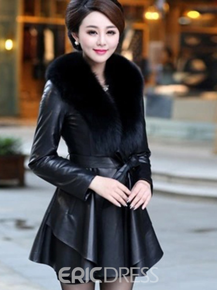 Ericdress Lapel Thick Color Block Long Sleeves Faux Fur Coat