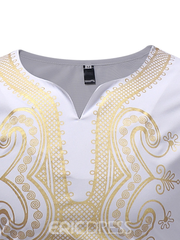 Ericdress Dashiki White V-Neck Mens Casual Long Sleeve T Shirts
