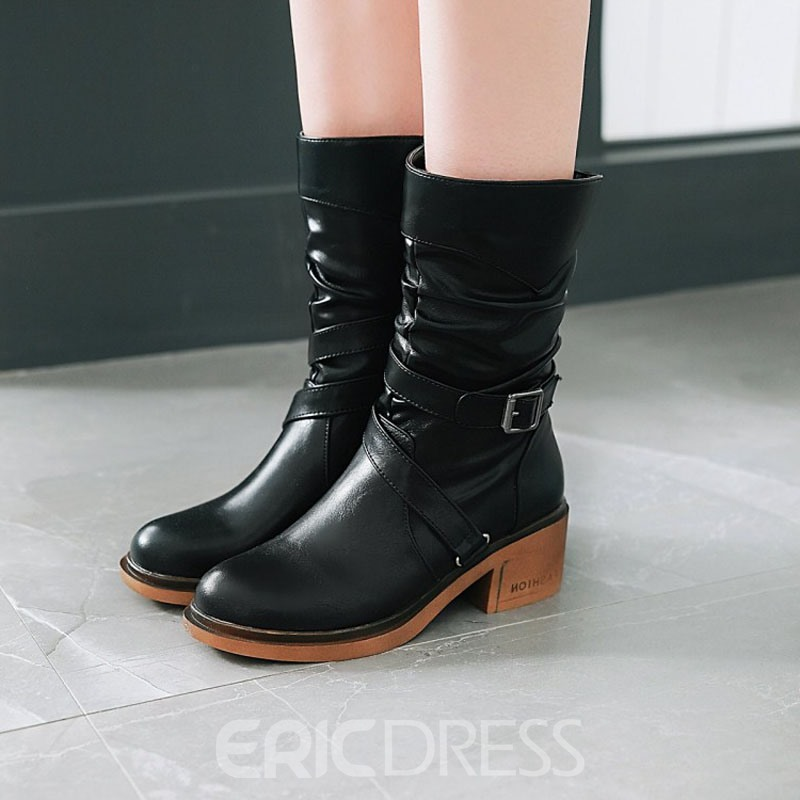 Ericdress Round Toe Side Zipper Women's Motorcycle Boots