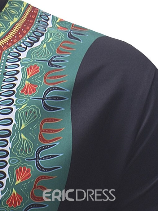 Ericdress Dashiki Printed Stand Collar Mens Casual Shirts
