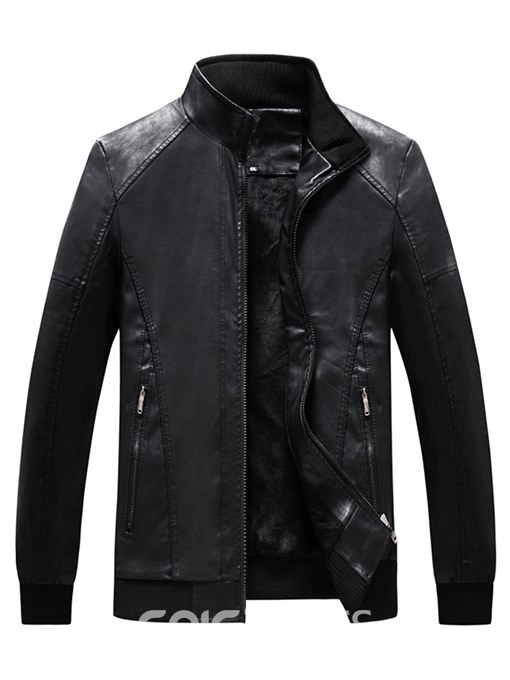 Ericdress Stand Collar Plain Zipper Mens Casual PU Leather Jacket
