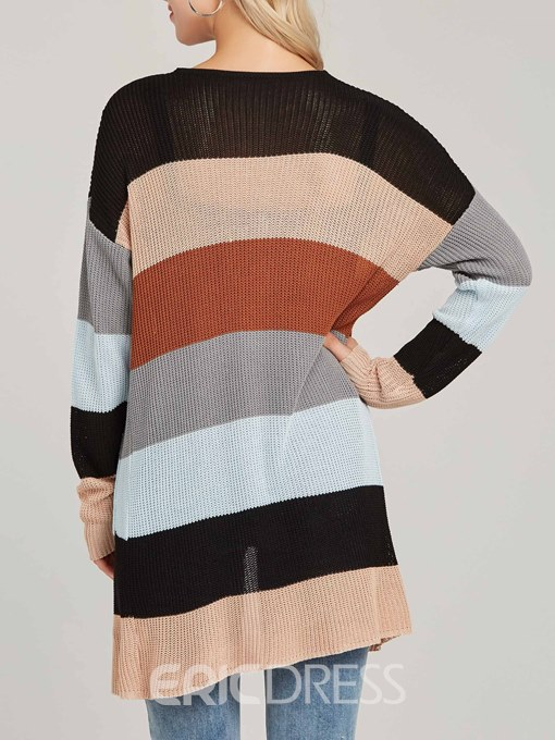 Ericdress Mid-Length Color Block Stripe Knitwear