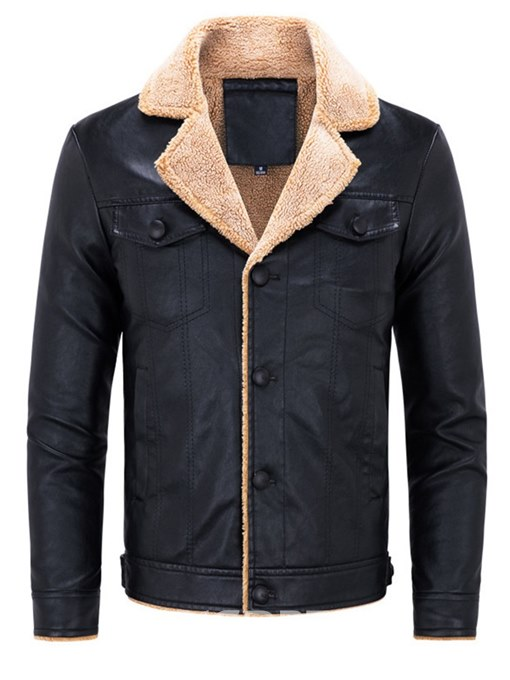 Ericdress Plain Single Breasted Lapel Mens PU Leather Winter Jacket