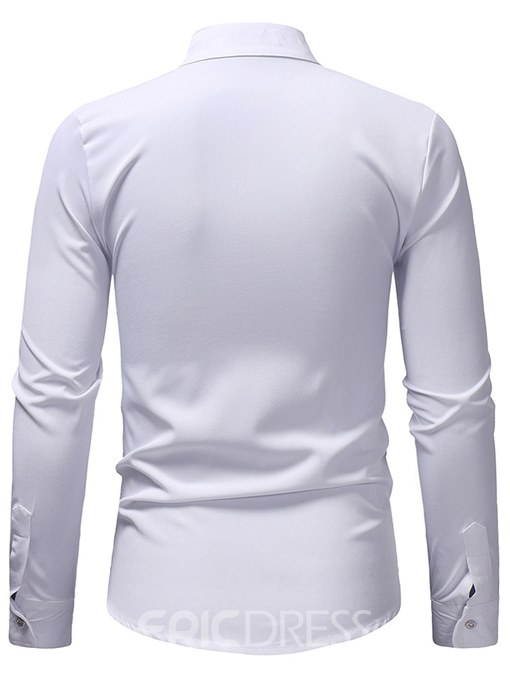 Ericdress Stand Collar Floral Embroidery Mens Casual Dress Shirts