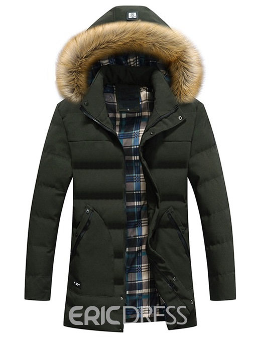 Ericdress Plain Removable Hooded Thick Mens Quilted Coats