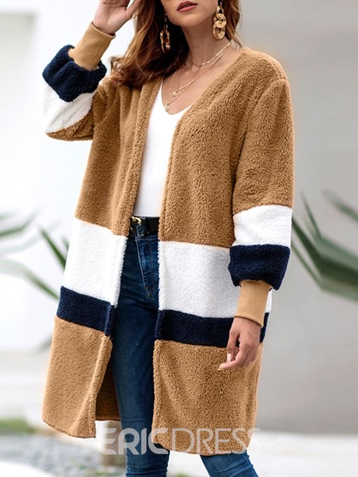Ericdress Loose Color Block Long Long Sleeves Coat