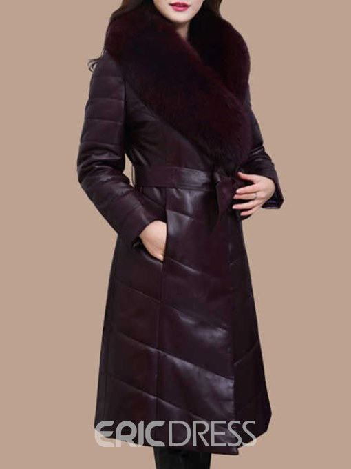 Ericdress Long Hemline Fur Collar Long Sleeves Coat