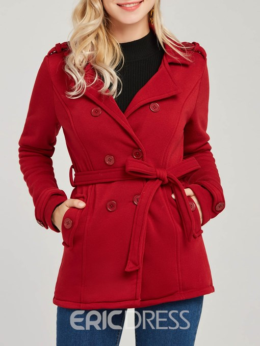 Ericdress Belt Pocket Double-Breasted Coat
