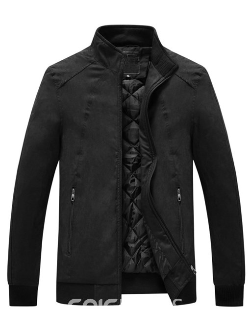 Ericdress Plain Thick Stand Collar Mens Zipper Classic Casual Jacket