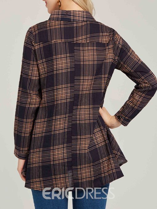 Ericdress Lapel Plaid Loose Button Casual Long Sleeve Blouse