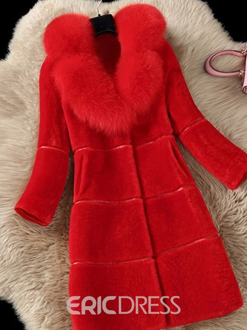 Ericdress Mid-Length Patchwork Faux Fur Long Sleeves Coat