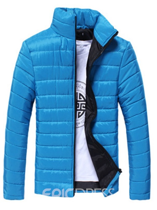 Ericdress Stand Collar Plain Color Zipper Casual Style Men's Down Jacket