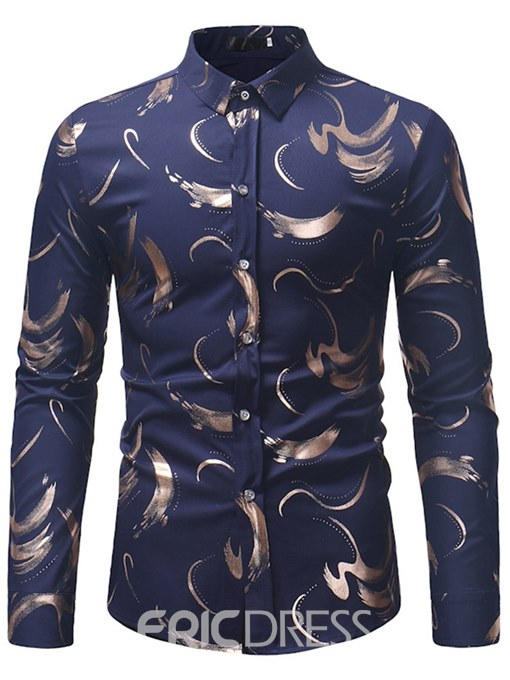 Ericdress Printed Slim Fitted Mens Casual Dress Shirts