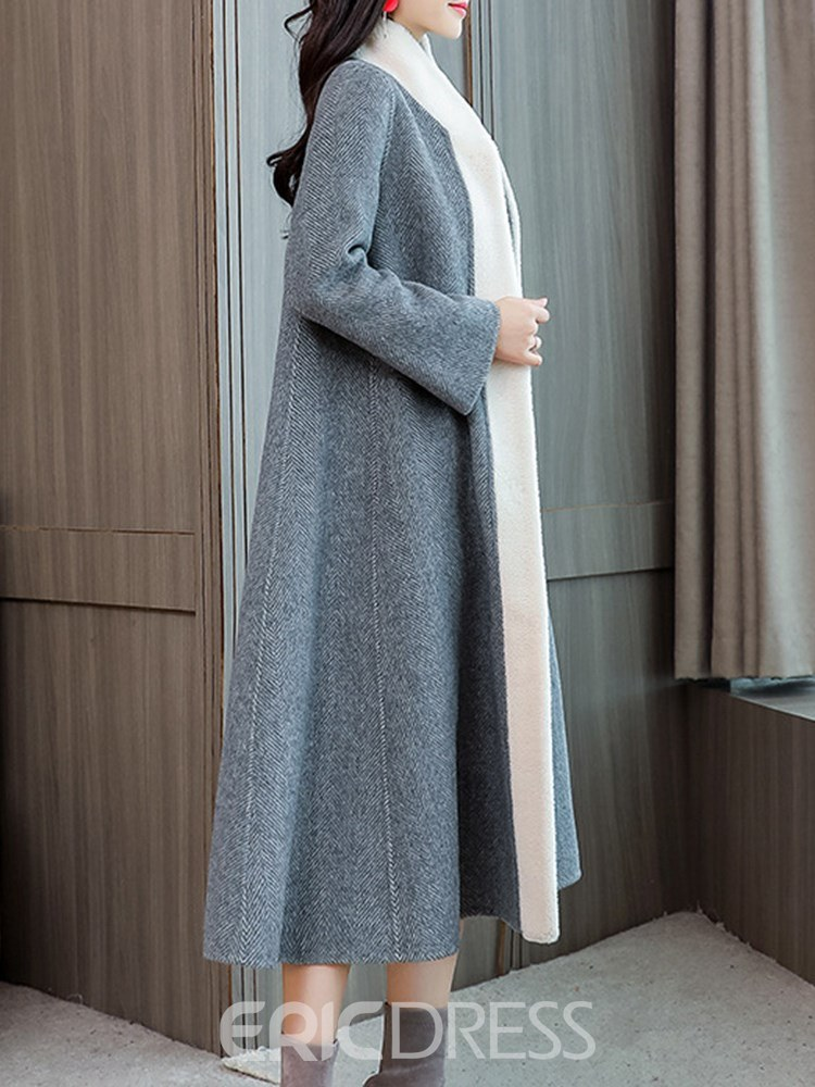 Ericdress Thick Color Block Long Coat