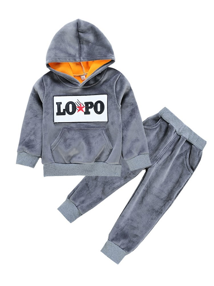 Ericdress Letter Printed Cashmere Hoodies & Pants Boys Sport Outfits