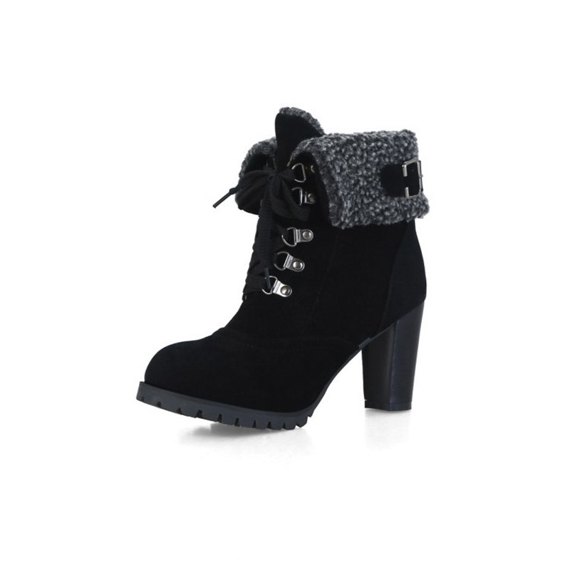 Ericdress Plain Lace-Up Front Chunky Heel Women's Snow Boots