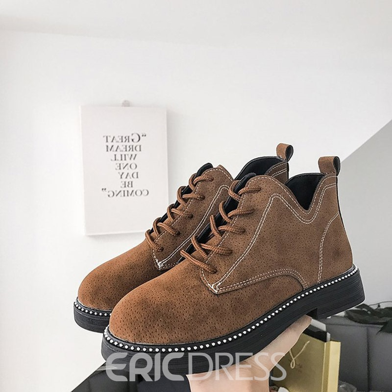 Ericdress Plain Lace-Up Front Women's Martin Boots