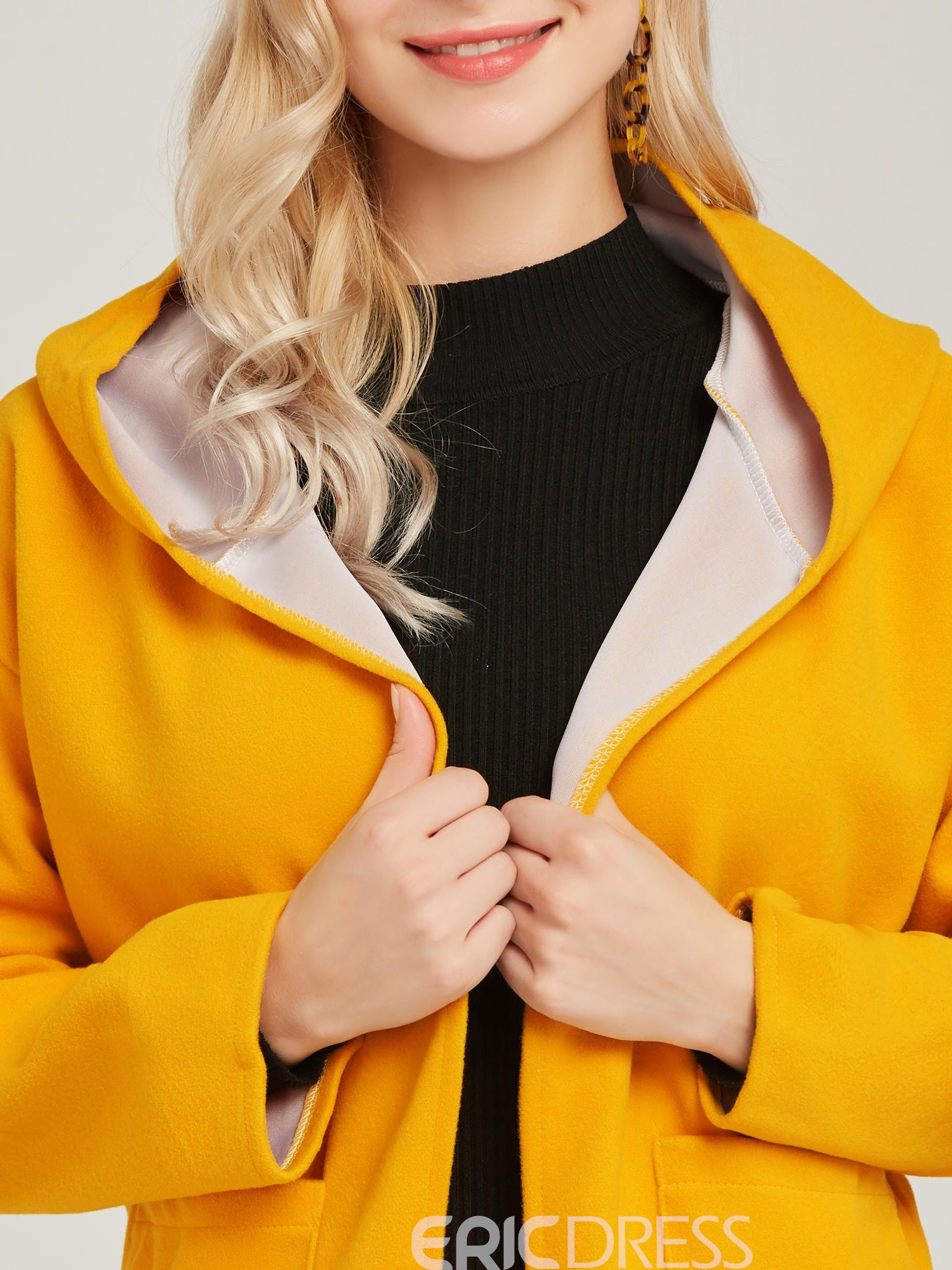 Ericdress Hooded Loose Casual Mid-Length Coat