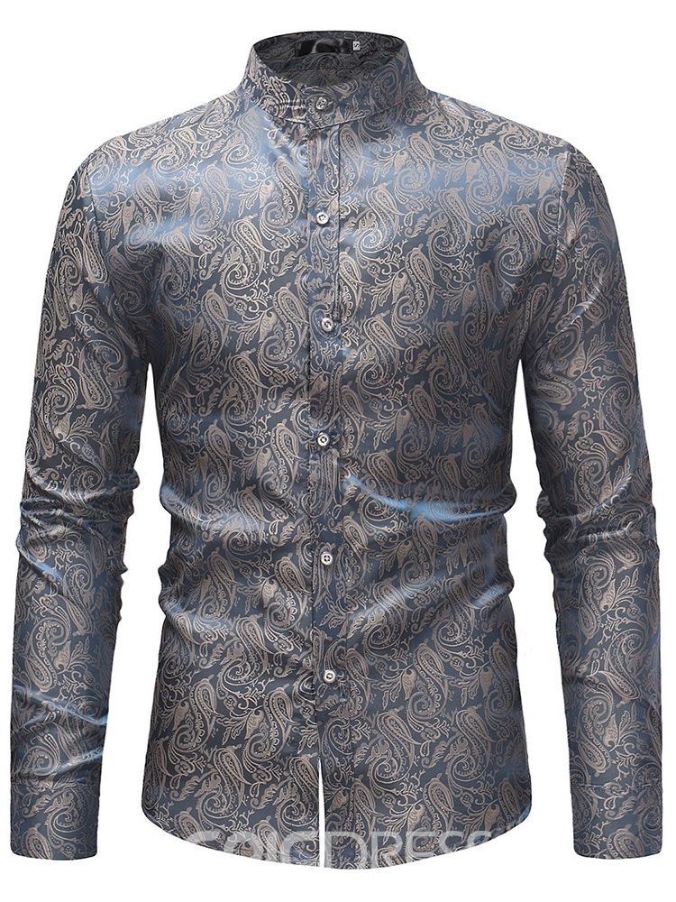 Ericdress Printed Stand Collar Mens Casual Shirts