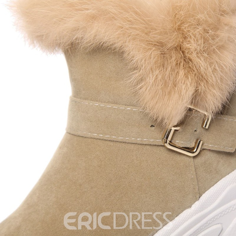 Ericdress Plain Round Toe Platform Slip-On Snow Boots