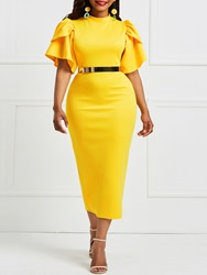 Ericdress Yellow Ruffle Sleeve Patchwork Bodycon Dress(Without Waistband) фото