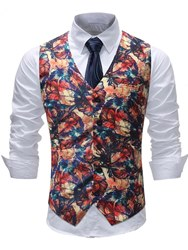 Ericdress Floral Printed Single Breasted Mens Vest фото