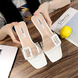 Ericdress See-Through Buckle Slip-On Mules Shoes