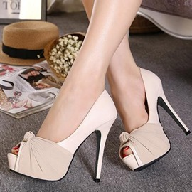 Ericdress Patchwork Slip-On Peep Toe Pumps