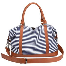 Ericdress Canvas Stripe Zipper Tote Bag