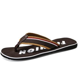 Ericdress Stripe Patchwork Thong Slip-On Men's Slides