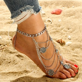 Ericdress Multi-Layered Tassels Goledn Coin Anklet