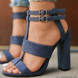 Ericdress Dark Blue Buckle Strappy Chunky Sandals