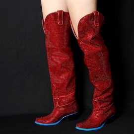 Ericdress Fashion Rhinestone Chunky Heel Knee High Boots