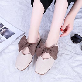 Ericdress Bowknot Slip-On Square Toe Women's Flats
