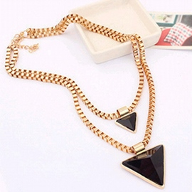 Ericdress Triangle Alloy Double Chain Necklace