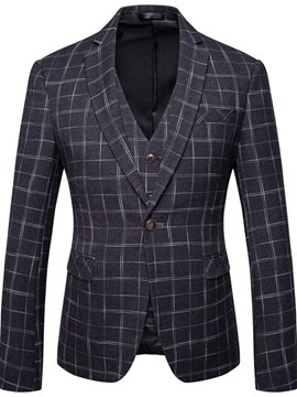 Ericdress Plaid One Button Blazer 3 Piece Mens Casual Businese Suits