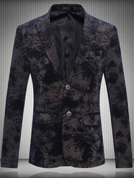 Ericdress Printed Notched Lapel Single Breasted Mens Casual Ball Blazer