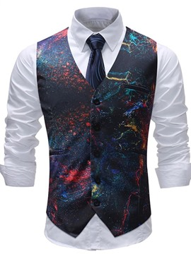 Ericdress Printed Paint Splatters Mens Casual Dress Suit Vest