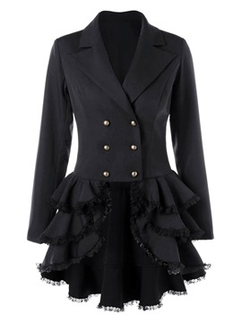Ericdress Notched Lapel Asymmetri Ruffles Plain Trench Coat