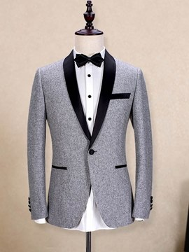 Ericdress Plain Shawl Collar Blazer 3 Pieces Mens Casual Ball Suits